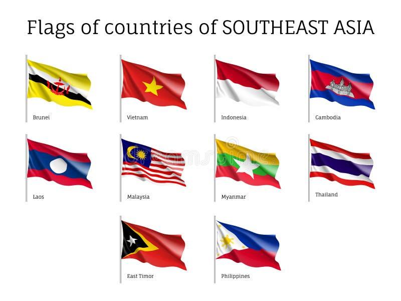 Waving flags of AEC members royalty free illustration