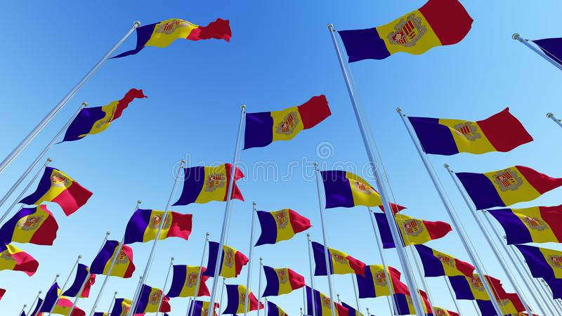 Waving Flags of Andorra against blue sky. royalty free illustration