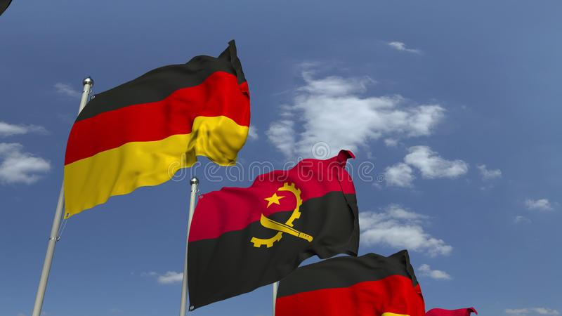 Waving flags of Angola and Germany, 3D rendering. Waving flags of countries against sky, 3D stock illustration