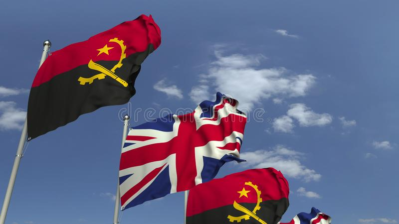 Waving flags of Angola and the United Kingdom, 3D rendering. Waving flags of countries against sky, 3D royalty free illustration