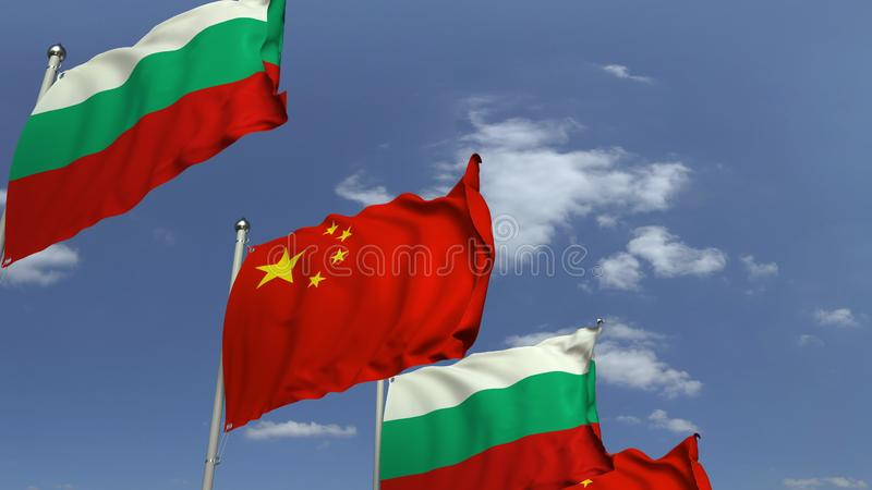Waving flags of Bulgaria and China on sky background, 3D rendering. Waving flags of countries against sky, 3D vector illustration
