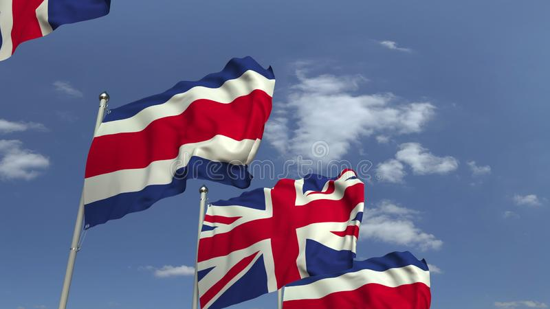 Waving flags of Costa rica and the United Kingdom on sky background, 3D rendering. Waving flags of countries against sky, 3D vector illustration