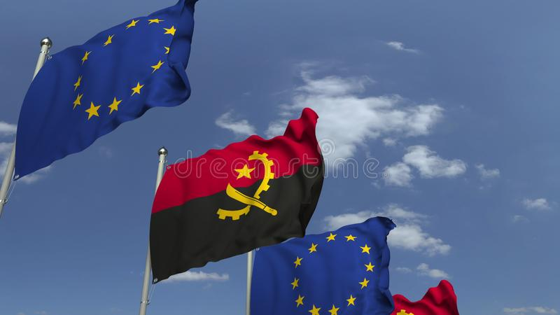 Waving flags of Angola and the European Union EU, 3D rendering. Waving flags of countries against sky, 3D royalty free illustration
