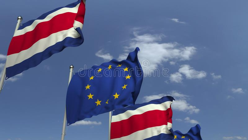 Waving flags of Costa Rica and the EU on sky background, 3D rendering. Waving flags of countries against sky, 3D stock illustration