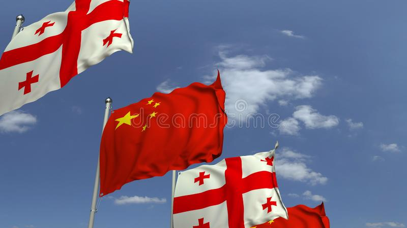 Waving flags of Georgia and China on sky background, 3D rendering. Waving flags of countries against sky, 3D royalty free illustration