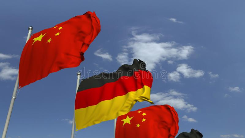 Waving flags of Germany and China on sky background, 3D rendering. Waving flags of countries against sky, 3D royalty free illustration