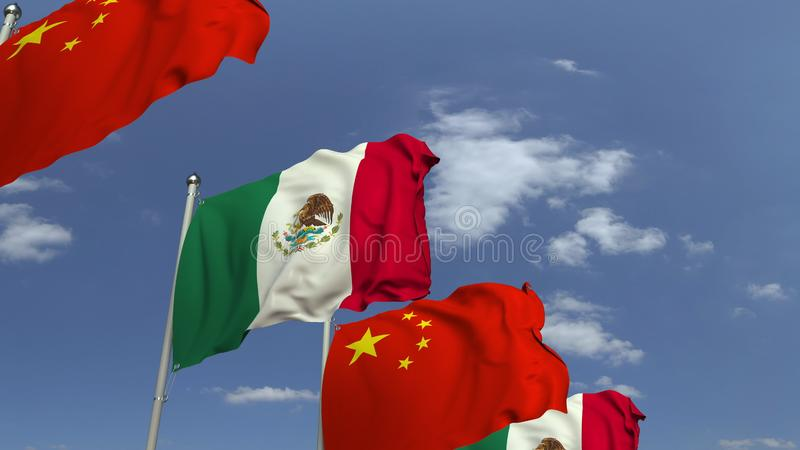 Waving flags of Mexico and China on sky background, 3D rendering. Waving flags of countries against sky, 3D royalty free illustration