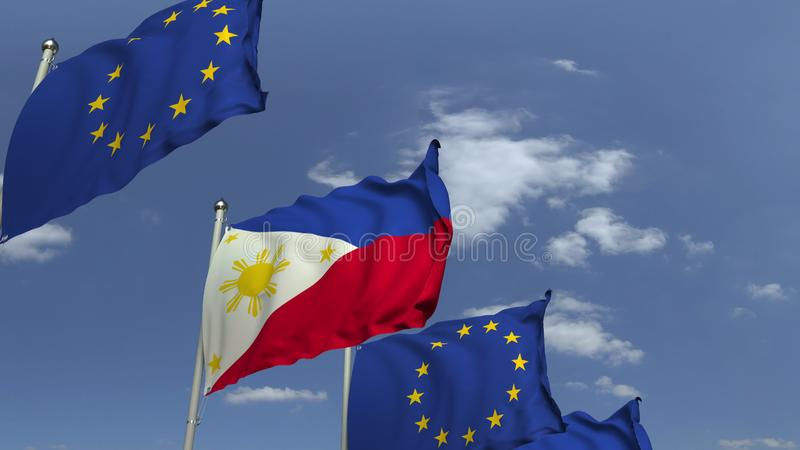 Waving flags of Philippines and the European Union EU, 3D rendering. Waving flags of countries against sky, 3D vector illustration