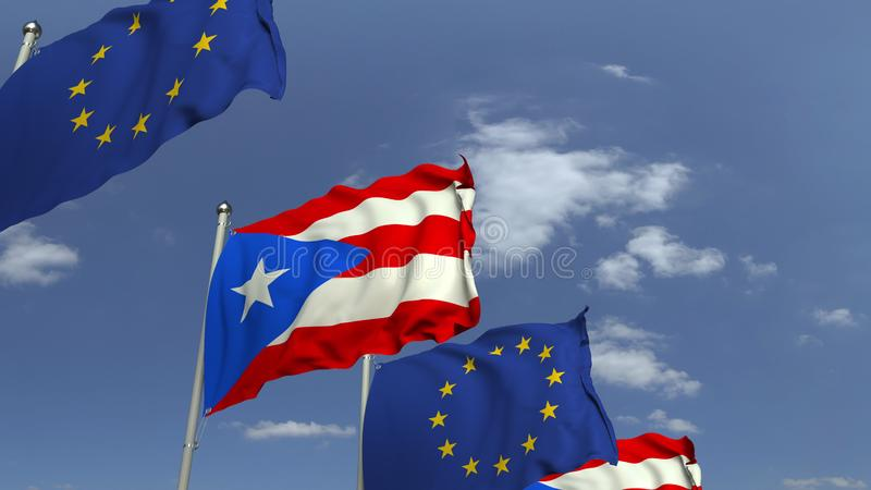 Waving flags of Puerto rico and the European Union EU, 3D rendering. Waving flags of countries against sky, 3D vector illustration