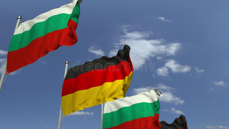 Row of waving flags of Bulgaria and Germany, 3D rendering. Waving flags of countries against sky, 3D stock illustration