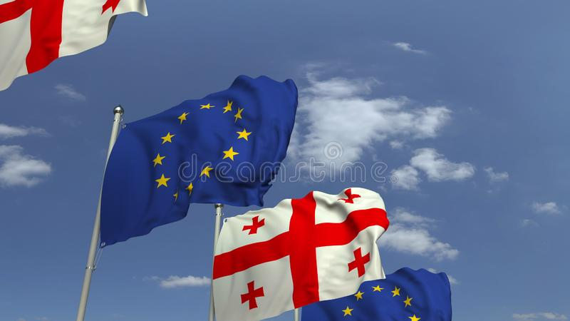 Row of waving flags of Geogia and the European Union EU, 3D rendering. Waving flags of countries against sky, 3D vector illustration