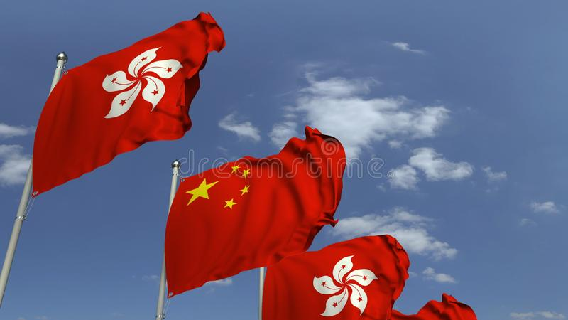 Row of waving flags of Hong Kong and China, 3D rendering. Waving flags of countries against sky, 3D royalty free illustration