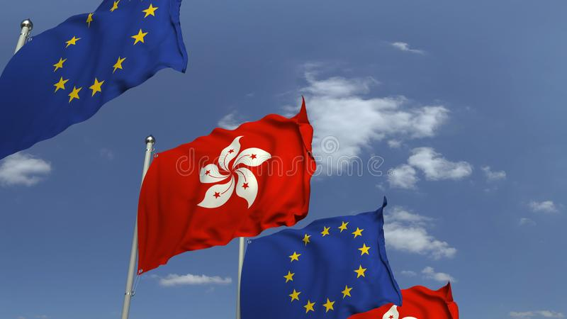 Row of waving flags of Hong kong and the European Union EU, 3D rendering. Waving flags of countries against sky, 3D vector illustration