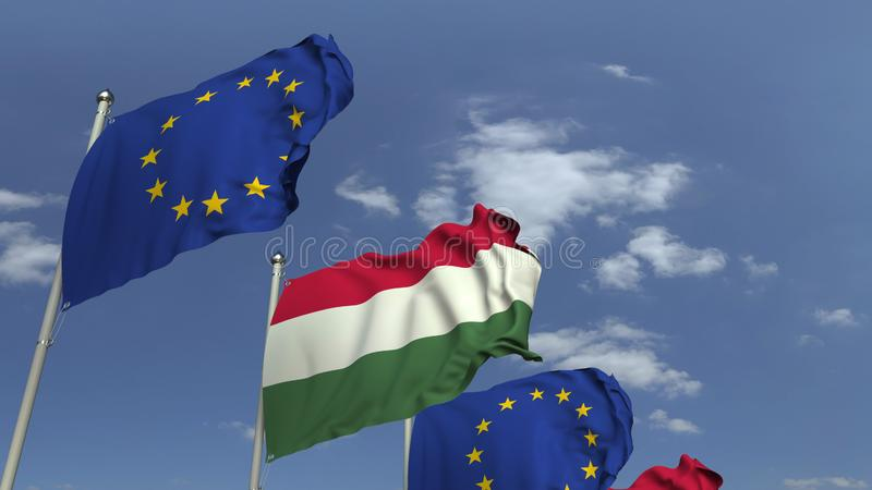 Row of waving flags of Hungary and the European Union EU, 3D rendering. Waving flags of countries against sky, 3D stock illustration
