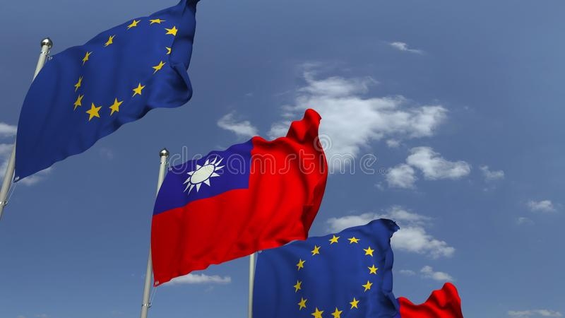 Row of waving flags of Taiwan and the European Union EU, 3D rendering. Waving flags of countries against sky, 3D stock illustration