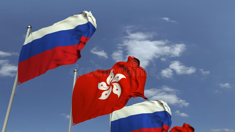 Row of waving flags of Hong Kong and Russia, 3D rendering. Waving flags of countries against sky, 3D stock illustration