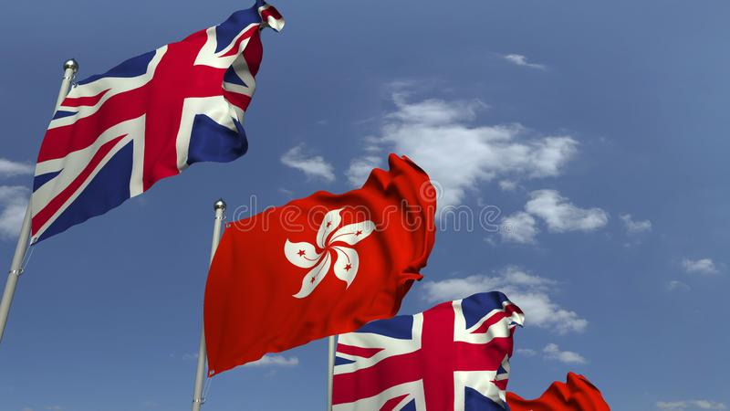 Row of waving flags of Hong Kong and the United Kingdom, 3D rendering. Waving flags of countries against sky, 3D vector illustration