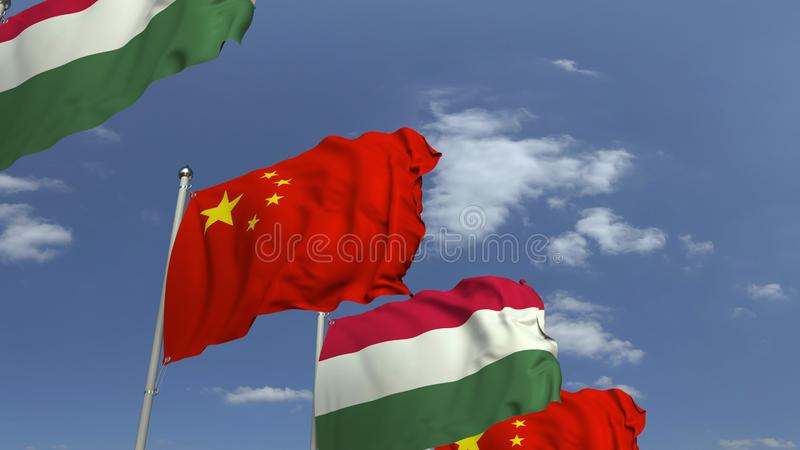 Row of waving flags of Hungary and China, 3D rendering. Waving flags of countries against sky, 3D vector illustration