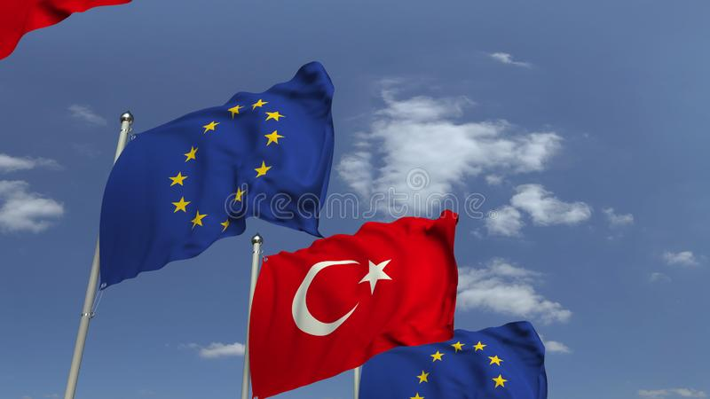 Waving flags of Turkey and the European Union EU, 3D rendering. Waving flags of countries against sky, 3D vector illustration