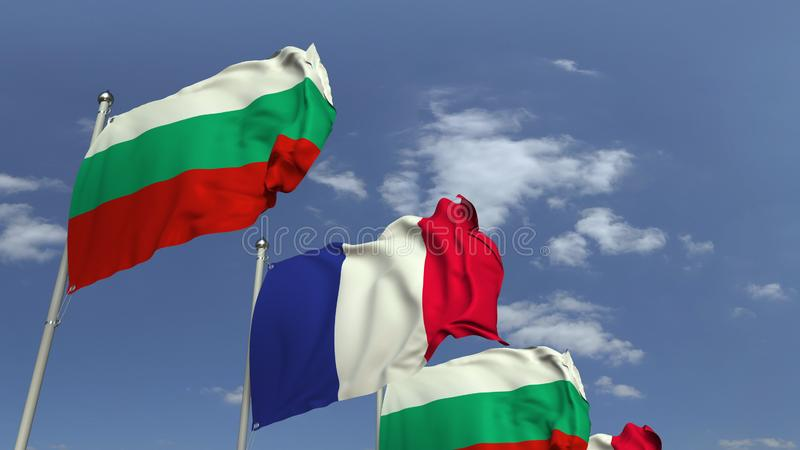 Waving flags of Bulgaria and France, 3D rendering. Waving flags of countries against sky, 3D royalty free illustration
