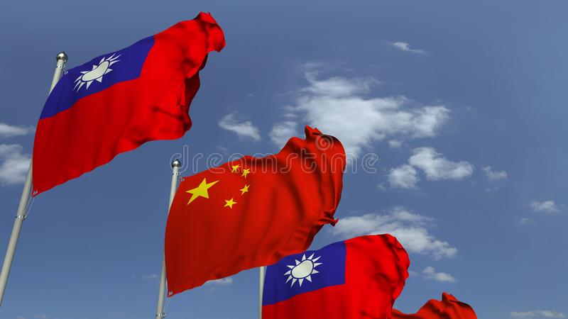 Waving flags of Taiwan and China on sky background, 3D rendering. Waving flags of countries against sky, 3D vector illustration