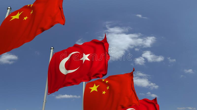 Waving flags of Turkey and China, 3D rendering. Waving flags of countries against sky, 3D stock illustration