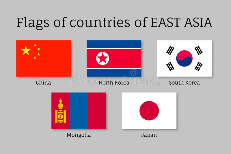 Waving flags of East Asian royalty free illustration