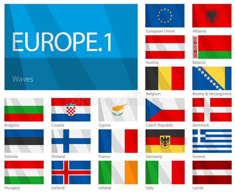 Waving Flags of European Countries - Part 1. Design Waves & No Borders. Vector file with 21 waving flags of European countries including European Union. It stock illustration