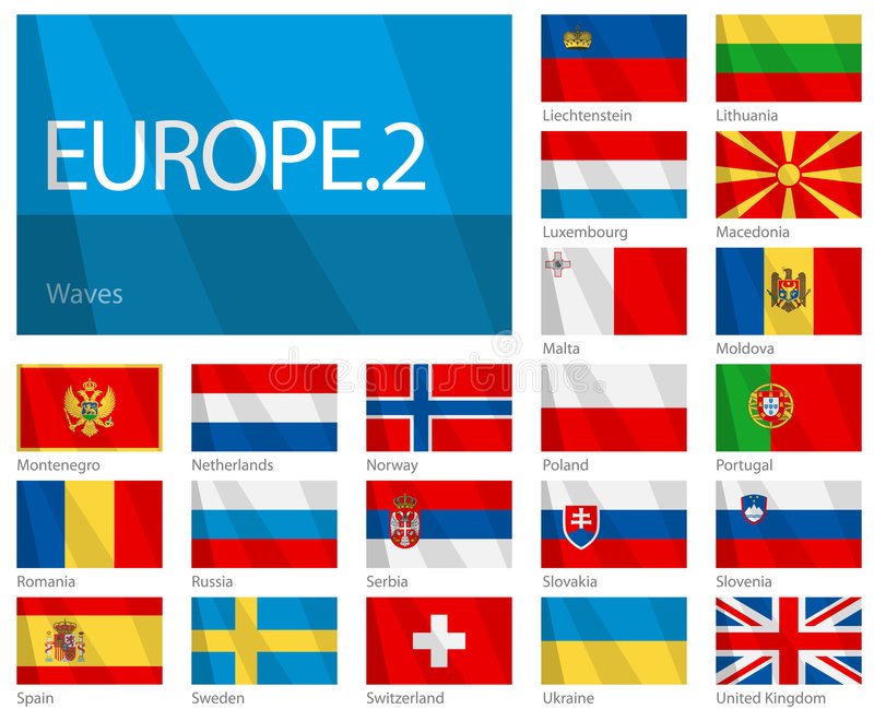Waving Flags of European Countries - Part 2. Design Waves & No Borders. Vector file with 21 waving flags of European countries. It contains second part of flags stock illustration