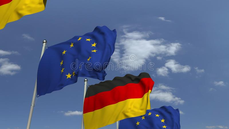 Waving flags of Germany and the EU on sky background, 3D rendering. Waving flags of countries against sky, 3D vector illustration
