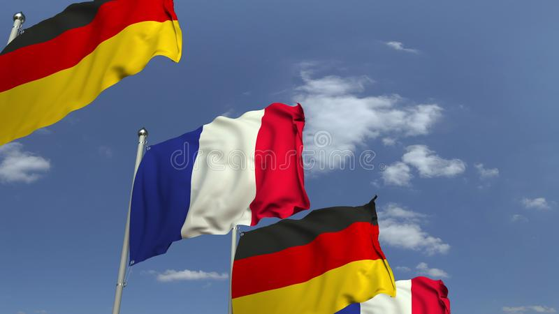 Waving flags of Germany and France on sky background, 3D rendering. Waving flags of countries against sky, 3D royalty free illustration