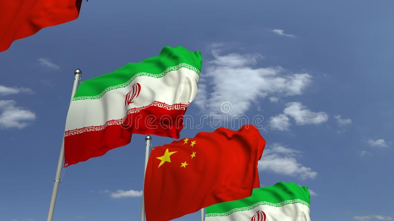 Waving flags of Iran and China on sky background, 3D rendering. Waving flags of countries against sky, 3D royalty free illustration