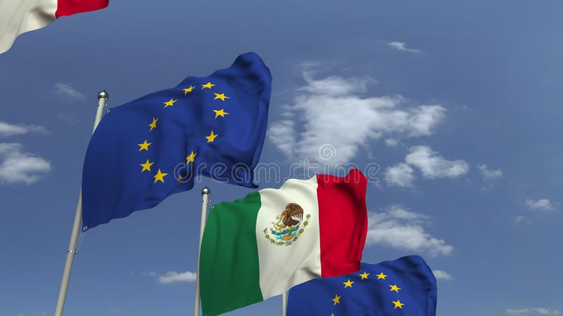Waving flags of Mexico and the EU on sky background, 3D rendering. Waving flags of countries against sky, 3D royalty free illustration