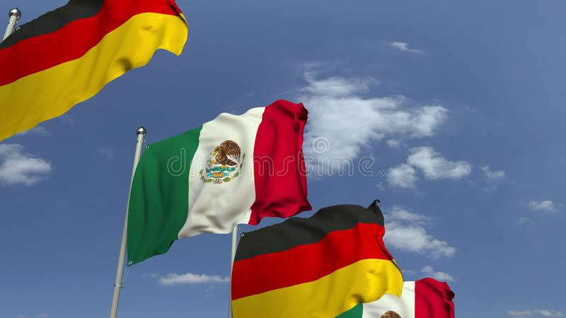 Waving flags of Mexico and Germany on sky background, 3D rendering. Waving flags of countries against sky, 3D royalty free illustration