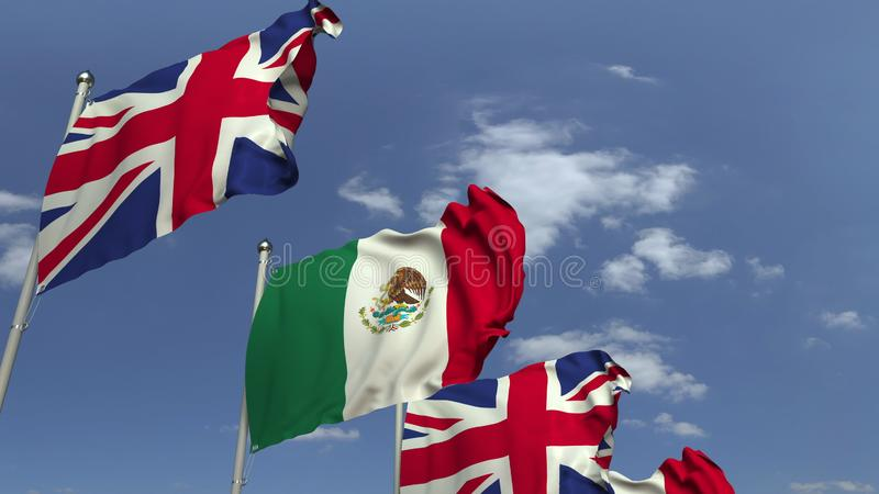 Waving flags of Mexico and the United Kingdom on sky background, 3D rendering. Waving flags of countries against sky, 3D royalty free illustration