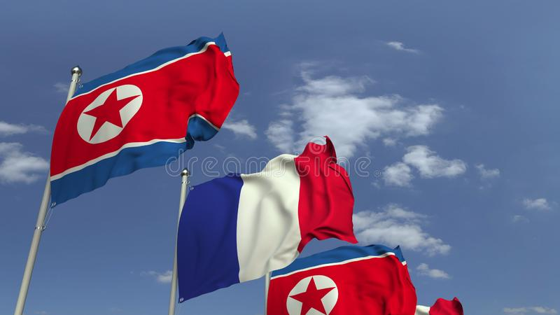 Waving flags of North Korea and France, 3D rendering. Waving flags of countries against sky, 3D vector illustration