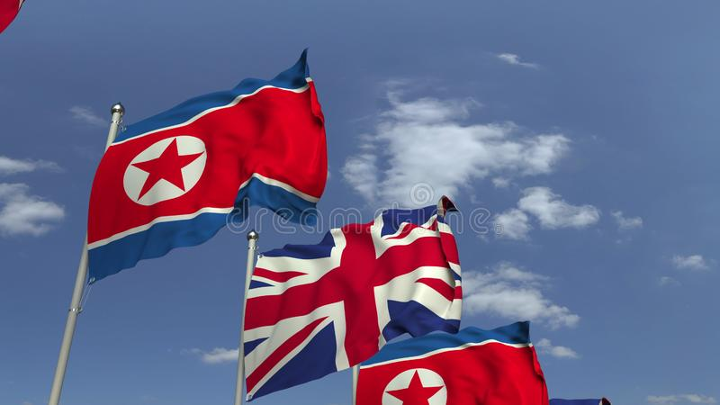 Waving flags of North Korea and the United Kingdom, 3D rendering. Waving flags of countries against sky, 3D royalty free illustration