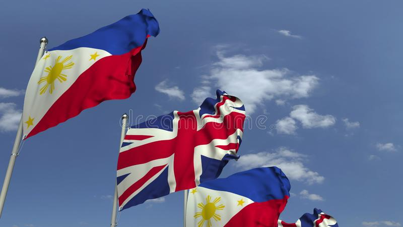 Waving flags of the Philippines and the United Kingdom, 3D rendering. Waving flags of countries against sky, 3D vector illustration