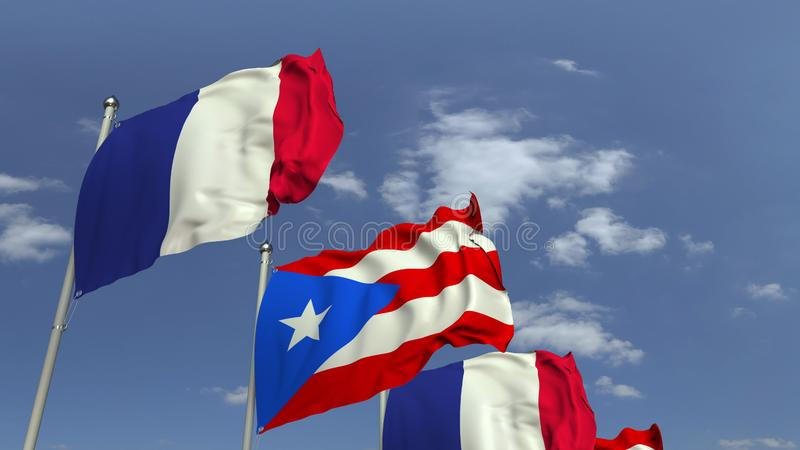 Waving flags of Puerto Rico and France, 3D rendering. Waving flags of countries against sky, 3D vector illustration
