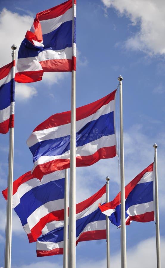Waving Thai flags stock photos