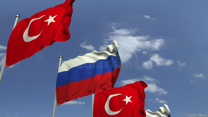 Waving flags of Turkey and Russia, 3D rendering. Waving flags of countries against sky, 3D stock illustration