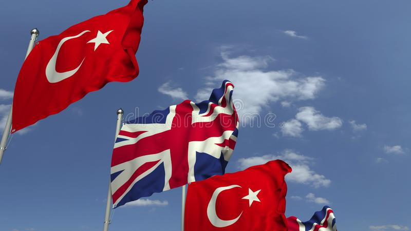Waving flags of Turkey and the United Kingdom, 3D rendering. Waving flags of countries against sky, 3D royalty free illustration