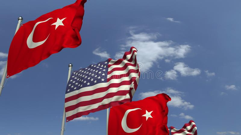 Waving flags of Turkey and the USA, 3D rendering. Waving flags of countries against sky, 3D vector illustration