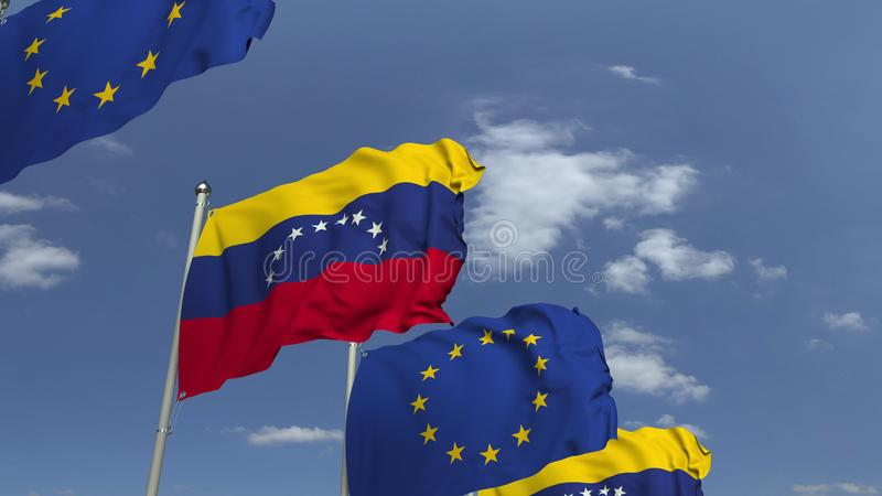 Waving flags of Venezuela and the EU on sky background, 3D rendering. Waving flags of countries against sky, 3D vector illustration