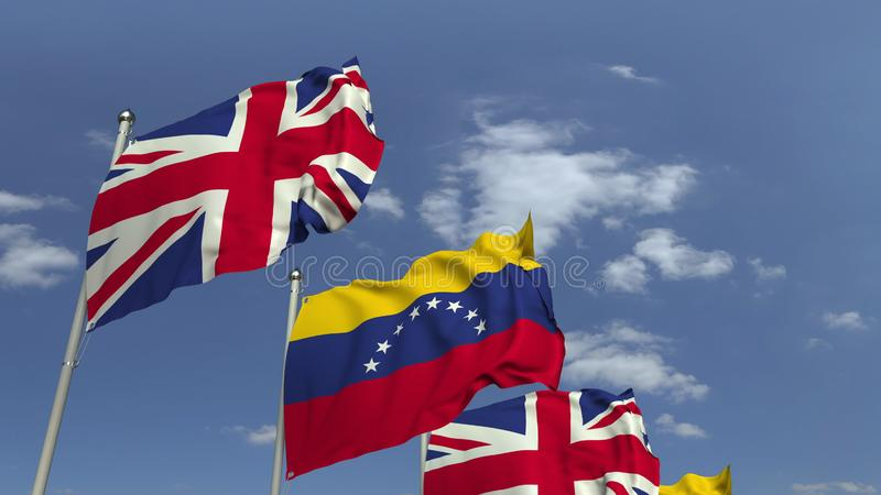 Waving flags of Venezuela and the United Kingdom on sky background, 3D rendering. Waving flags of countries against sky, 3D vector illustration