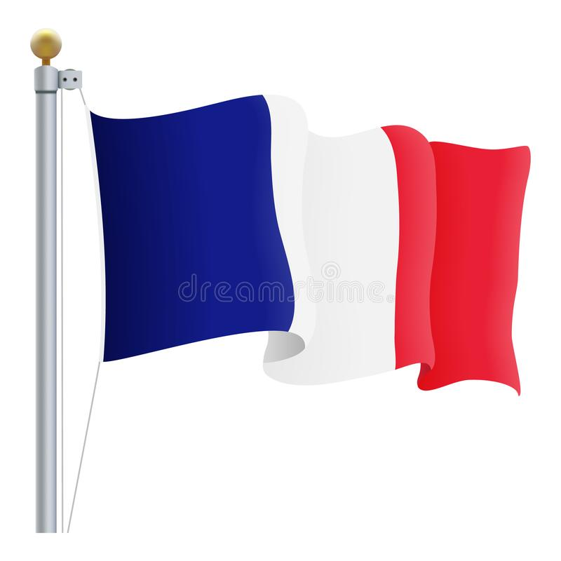 Waving France Flag Isolated On A White Background. Vector Illustration. royalty free illustration