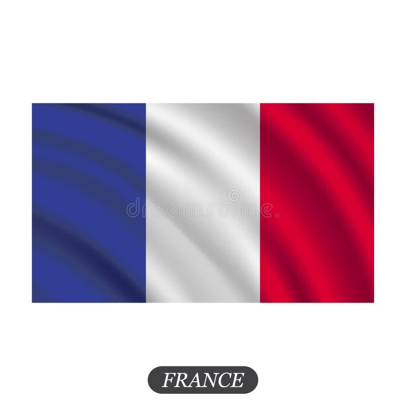 Waving France flag on a white background. Vector illustration royalty free illustration