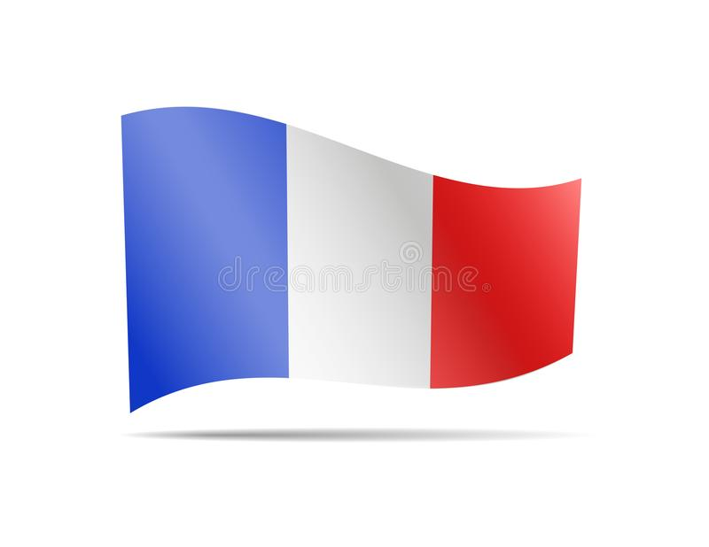 Waving France Flag on white. Flag in the Wind. stock illustration