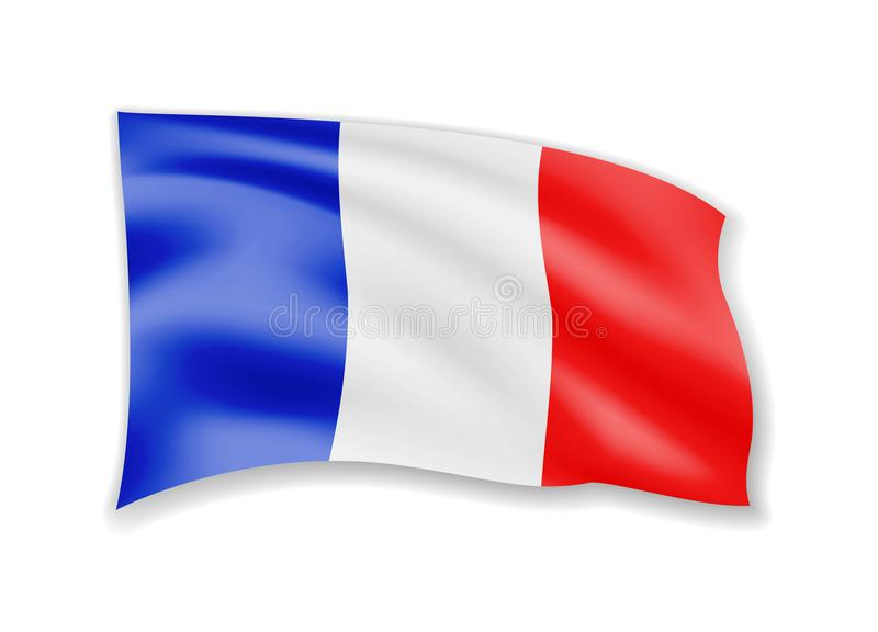 Waving France Flag on white. Flag in the Wind. royalty free illustration