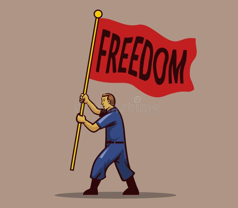 Waving Freedom Flag Men. Men holding wave freedom red flag royalty free illustration